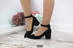 Туфли с ремешком острый нос черные