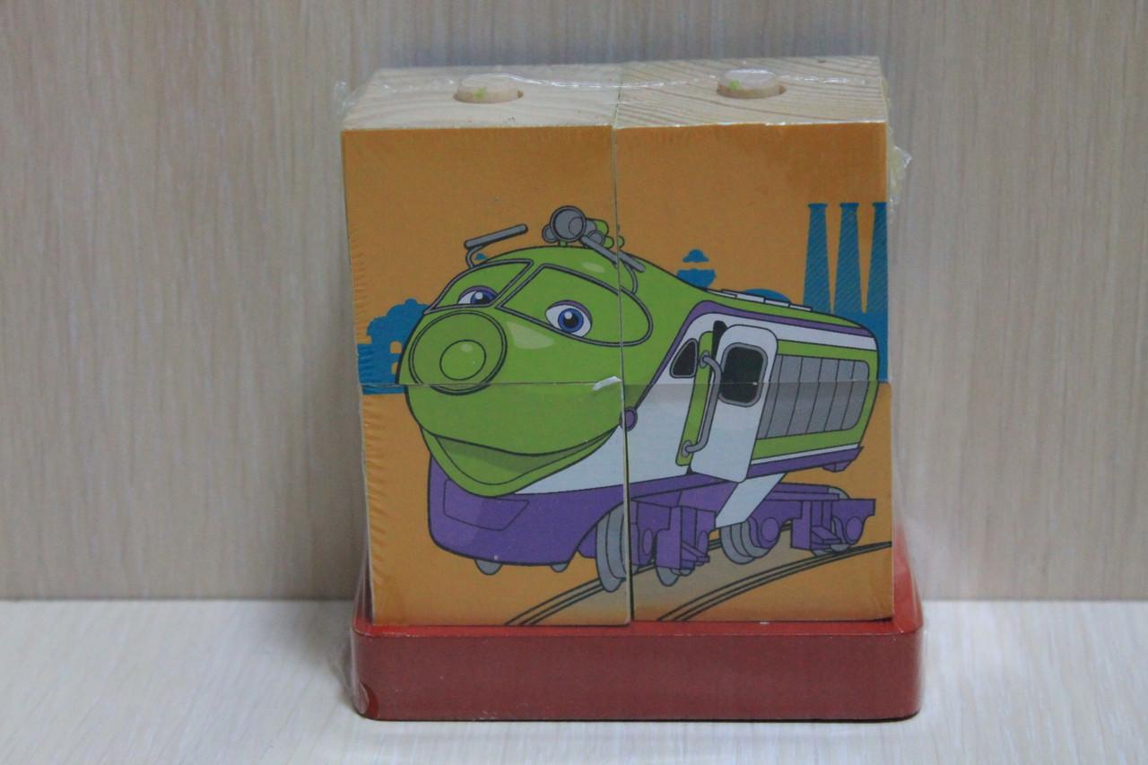 CP-2-CHUG Деревянные кубики ЧАГГИНТОН в коробке 4 шт.