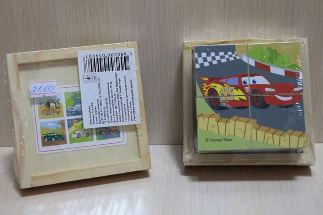 C-4-CAR Деревянные кубики ТАЧКИ в коробке 4 шт., фото 2