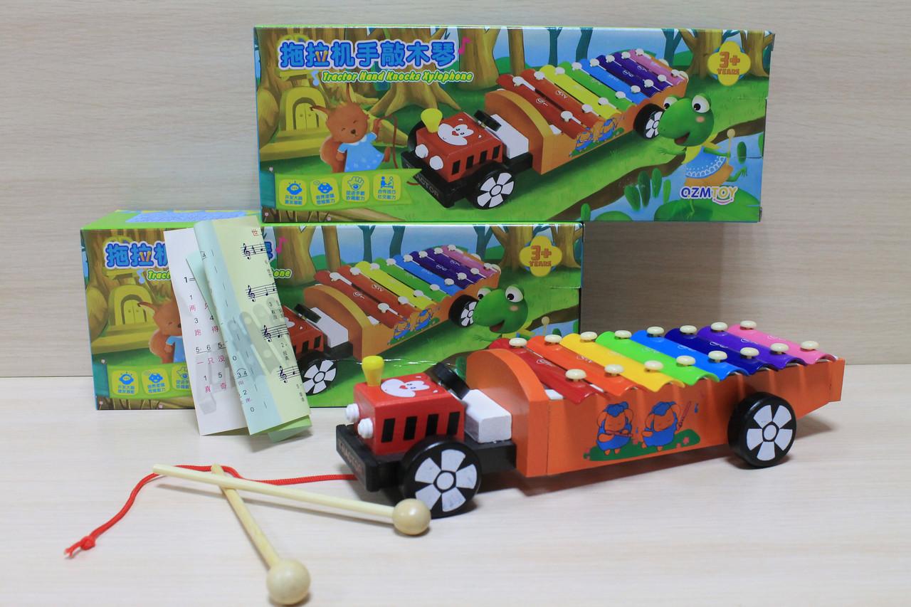 0463 Ксилофон машинка, деревянная игрушка для малышей в коробке 19*10*3 см