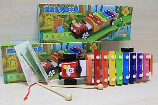 0463 Ксилофон машинка, деревянная игрушка для малышей в коробке 19*10*3 см, фото 3