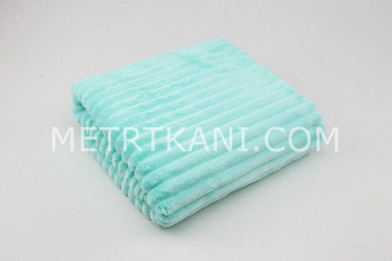 Minky Stripes плюш салатово-мятного цвета 100*80 см  350 г/м2 № с-16-1