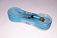 Кабель micro USB длина в тканевой оплетке, цвет - голубой, фото 1