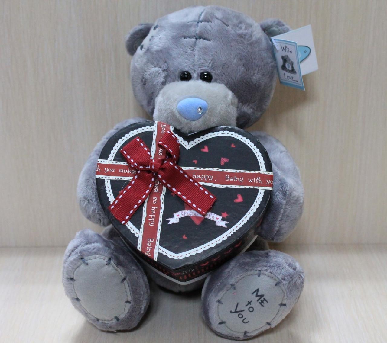 0749-1 Мишка Тедди с коробочкой для подарка, мягкая игрушка подарок тм Сонечко