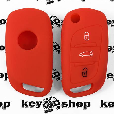 Чехол (красный, силиконовый) для выкидного ключа Peugeot (Пежо) 3 кнопки, фото 2