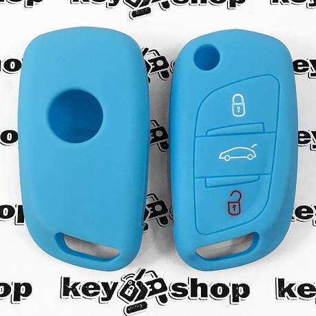 Чохол (блакитний, силіконовий) для выкидного ключа Peugeot (Пежо) 3 кнопки, фото 2