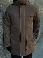 Парка зимняя мужская / куртка до - (-25)* + ПЕРЧАТКИ В ПОДАРОК! / коричневая