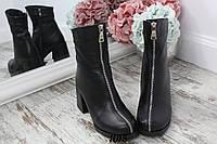 Ботинки зимние LUXARY впереди молния черные. Натуральная кожа, фото 1