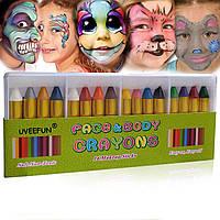 Аквагрим UVEEFUN набор красок для рисования на лице и теле Crayons 16 цветов  мелки, фото 1