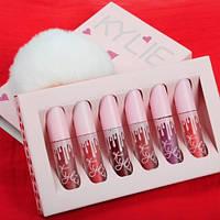 📌 Набор матовых жидких помад Kylie Jenner в розовой подарочной коробке