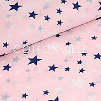 Поплин Звездопад на розовом, фото 1