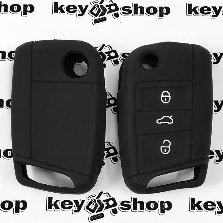 Чохол (чорний, силіконовий) для выкидного ключа Seat (Сеат) 3 кнопки