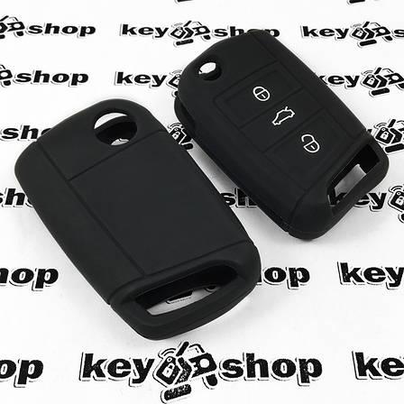 Чохол (чорний, силіконовий) для выкидного ключа Seat (Сеат) 3 кнопки, фото 2