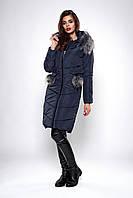 Зимнее женское молодежное пальто. Код К-127-36-19. Цвет темно синий.