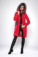 Зимнее женское молодежное пальто. Код К-127-36-19. Цвет красный.