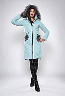 Зимнее женское молодежное пальто. Код К-127-36-19. Цвет мятный.