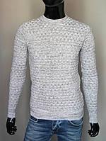 Мужской свитер светло-серый 5337