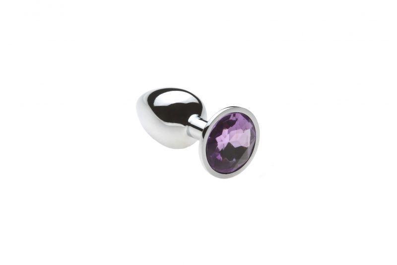Анальная пробка с нежно-фиолетовым камнем, размер М + Чехол