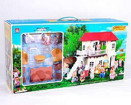 012-01 Дом Лесные жители и набор мебели с флоксовыми фигурками в коробке 65*34*17 см
