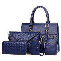 Набор женских сумок 5в1 синий из экокожи , фото 1