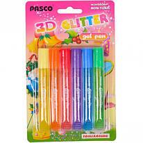 Клей-краски с блеском color 3D, 6 шт*10 мл, F-019-06, Pasco, 330111