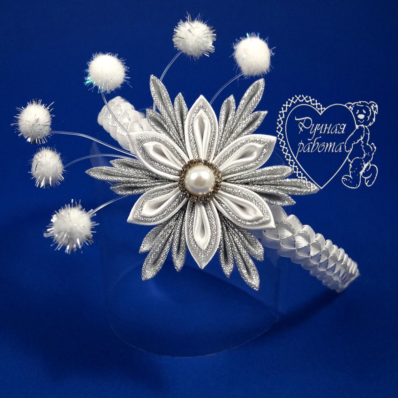 Обруч сніжинка з пампончиками, корона сніжинки
