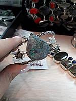 Браслет с хризоколлой. Великолепный браслет-манжет с камнем хризоколла в серебре. Индия!, фото 1