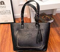 Женская черная сумка с плетеными ручками, фото 1