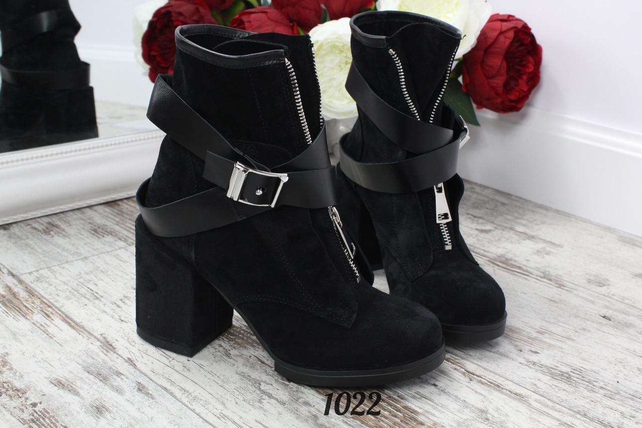 Ботинки  NEW Fashion на замке с ремешком черные. Натуральный замш