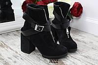 Ботинки  NEW Fashion на замке с ремешком черные. Натуральный замш, фото 1