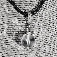 Горный хрусталь, Ø12 мм., серебро, кулон, 933КЛГ