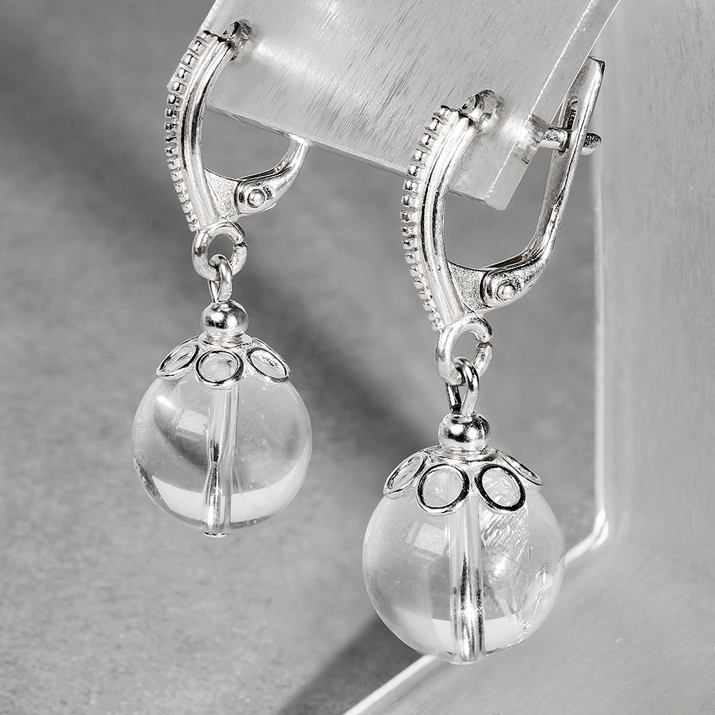Гірський кришталь, Ø12 мм, срібло, сережки, 355СРГ