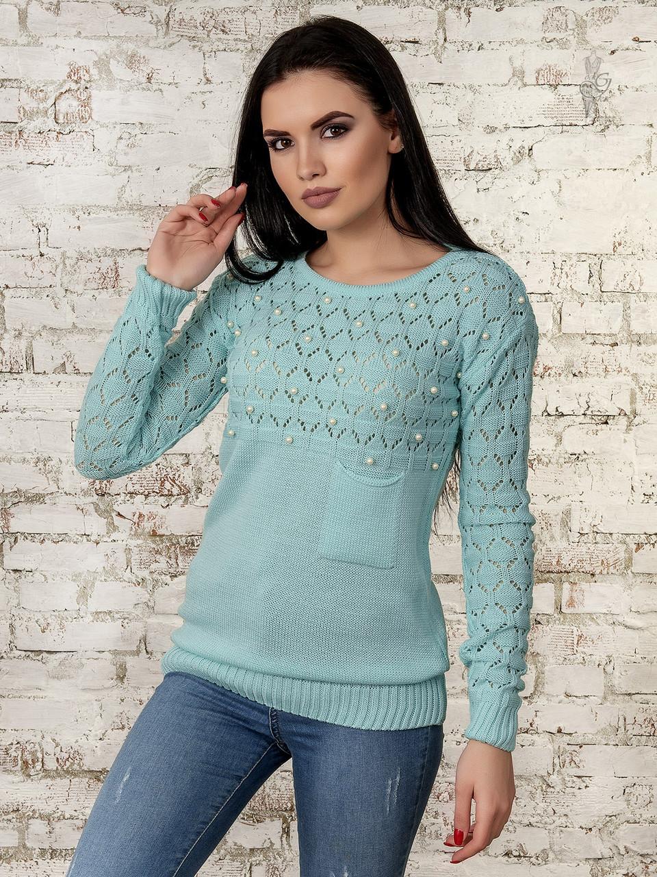 Вязаный женский свитер Дженна из шерсти и акрила