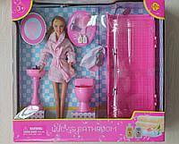8215 Кукла Дефа Defa в халате с набором ванная комната душ туалет умывальник аксессуары