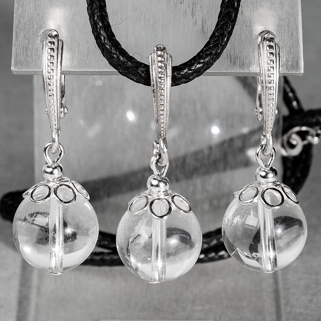 Горный хрусталь, Ø12 мм., серебро, комплект кулон и серьги, 073КМГ