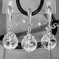 Горный хрусталь, Ø12 мм., серебро, комплект кулон и серьги, 073КМГ, фото 1