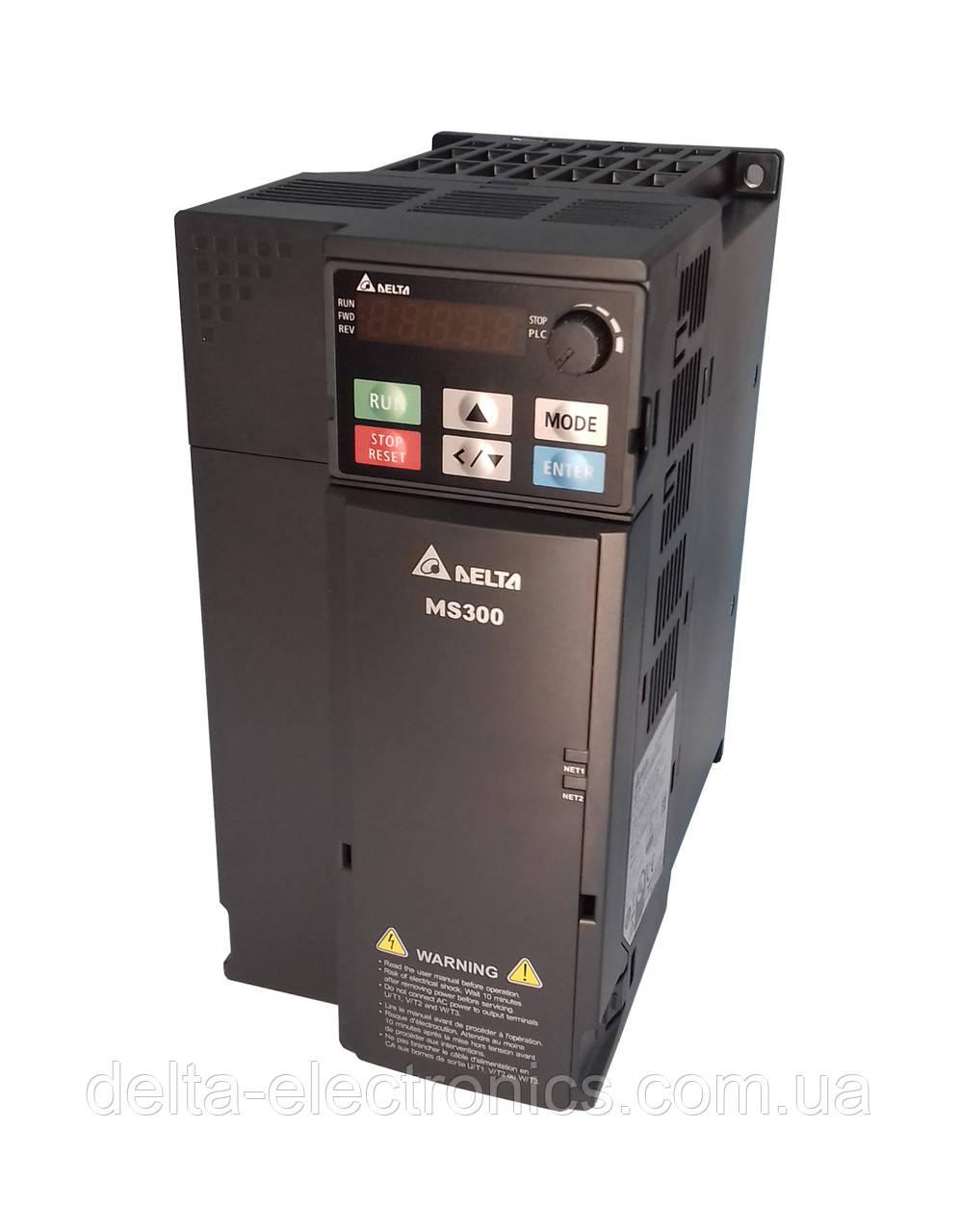Преобразователь частоты MS300, 3x380В, 7,5 кВт, 17/20,5А, ЭМС С2 фильтр, векторный, c ПЛК, VFD17AMS43AFSAA