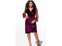 Женское нарядное вечернее платье из бархата 26302 / размер 48-50, 52-54, 56-58 цвет бордо