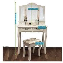Туалетный столик Emma с табуретом и зеркалами