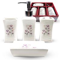 Набор аксессуаров для ванной комнаты 4 пр. Цветочный барельеф SNT 888-137