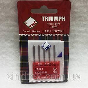 Иглы для бытовых швейных машин TRIUMPH New 130/705H Универсальные №80 (уп.5шт)