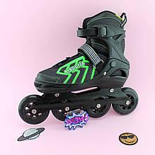 9015 Детские ролики черные с зеленым диаметр колес 9 см размер 39-42