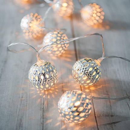 """Новогодняя гирлянда """"Шарики"""" 10 LED, Белый телый свет, Диаметр 2,4 см, На пальчиковых батарейках, фото 2"""