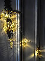 Новогодняя гирлянда 10 LED, Белый теплый свет, На пальчиковых батарейках, фото 3