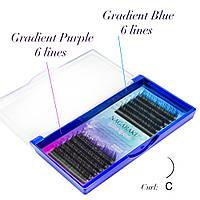 NAGARAKU Омбре  Фиолетовые  и Синие, С 0.07, 9 мм, фото 1