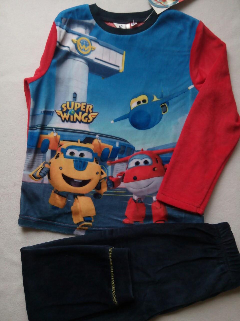 Теплая пижама для мальчика велюровая TM SunCity (SuperWings) 5лет, фото 1