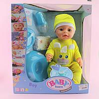 033F Пупс функциональный baby born 42см с набором аксессуаров: горшок,соска, подгузник, посуда,каша2шт,пьет-писяет,в коробке 33-38-18см