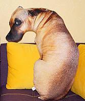 Подушка 3D грустный пес, Подушка собака 70 см.