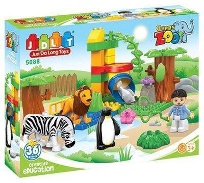 5088 Конструктор для малышей Зоопарк, 36 дет, в кор-ке, 37-29-10см, фото 2