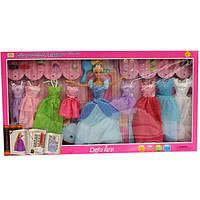 8266 Кукла с нарядом DEFA 29см, платья 8шт,обувь,аксессуары, в кор-ке,66,5-35-6см